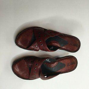 Born Womens Burgundy Leather Flip Flop Sandals Sz8